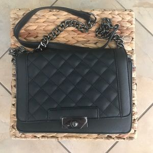 Black Quilted Crossbody with Chain
